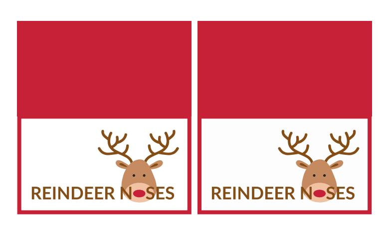 Reindeer Noses free printable bag toppers  perfect for making cute reindeer stocking stuffers and Christmas treats for family and friends this Christmas!