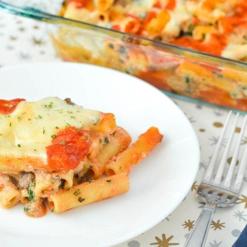 Baked Ziti Casserole with Mushrooms and Spinach Recipe
