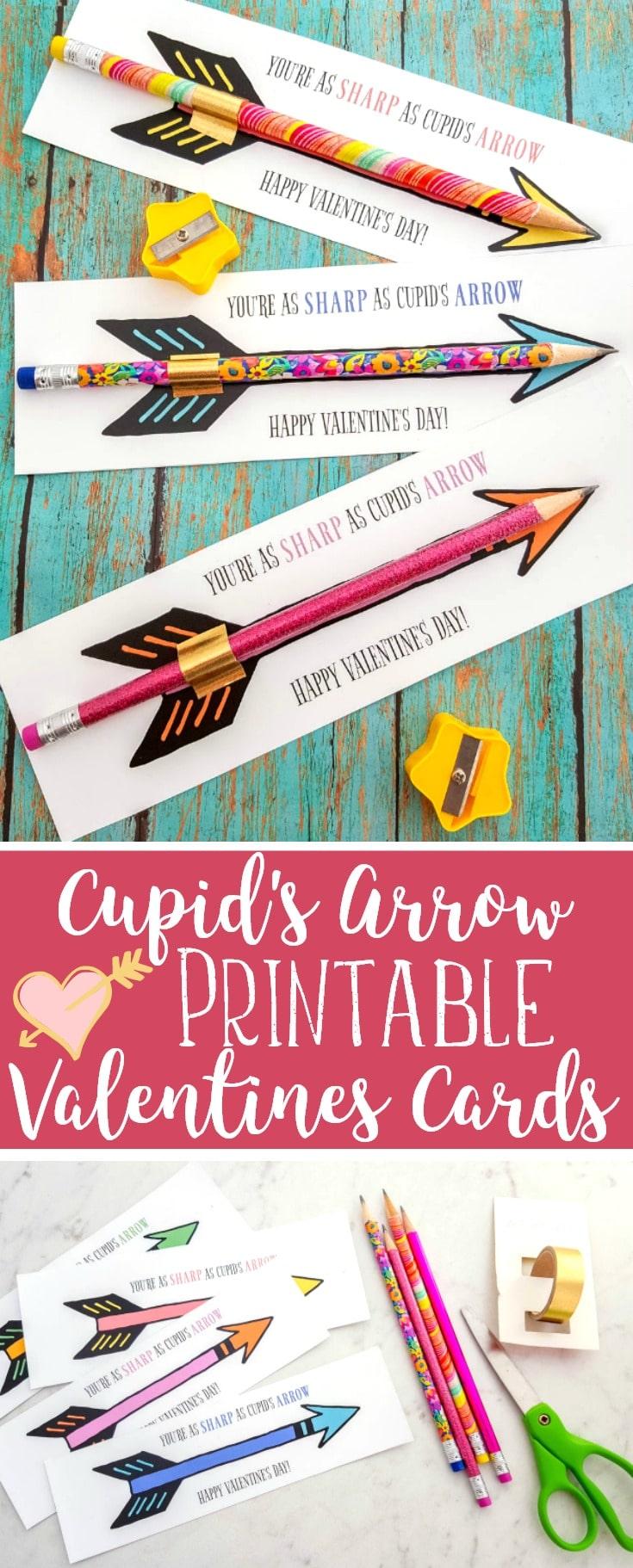 Cupid's Arrow Pencil Printable Valentines Cards