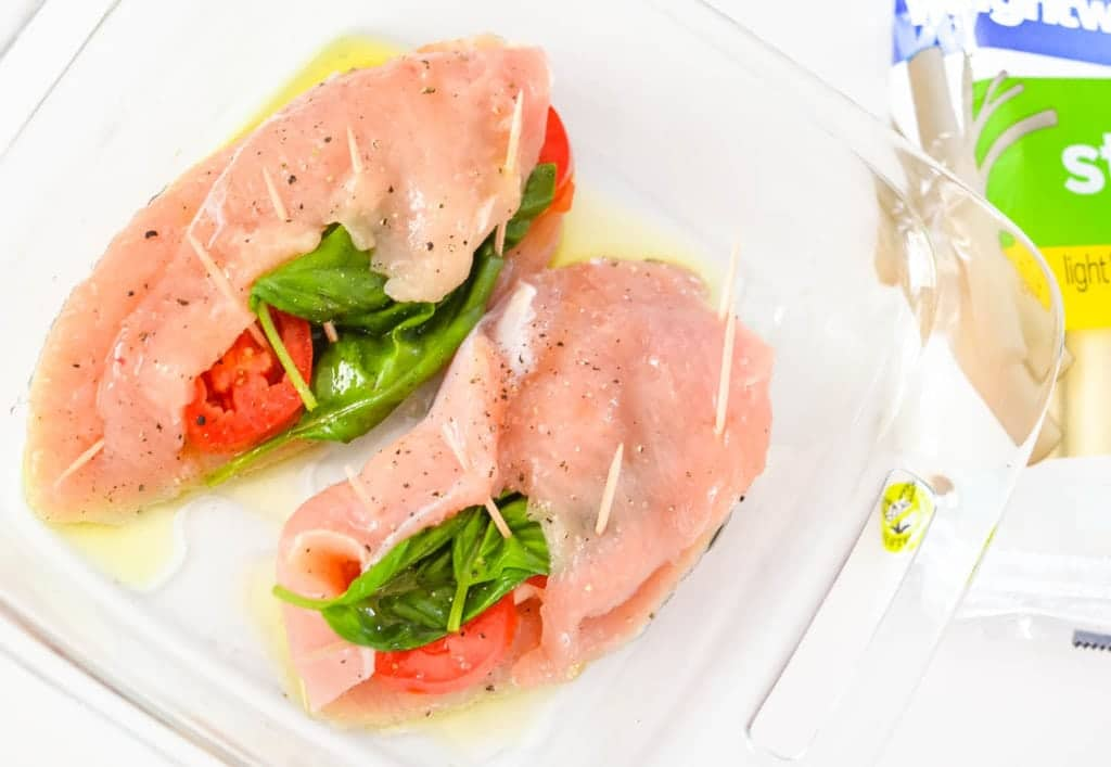 low carb caprese stuffed chicken