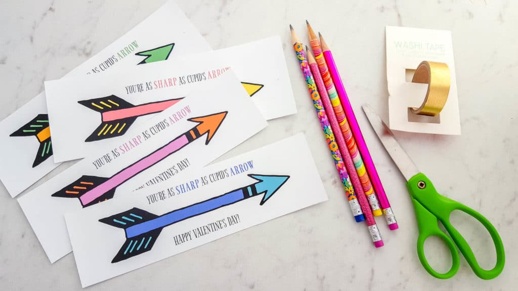 How to make Cupid's Arrow Pencil Printable Valentines Cards