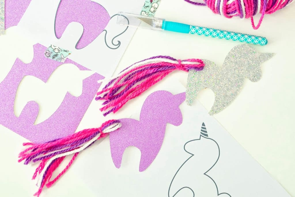 free unicorn bookmark printable tassel tail