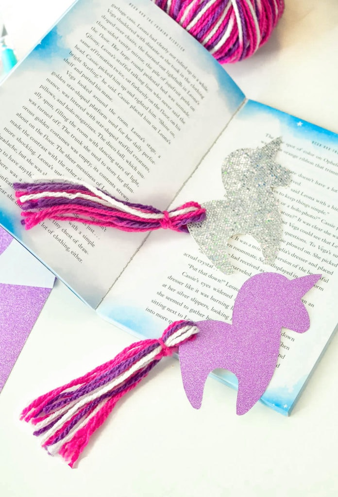 diy unicorn bookmark printable tassel tail