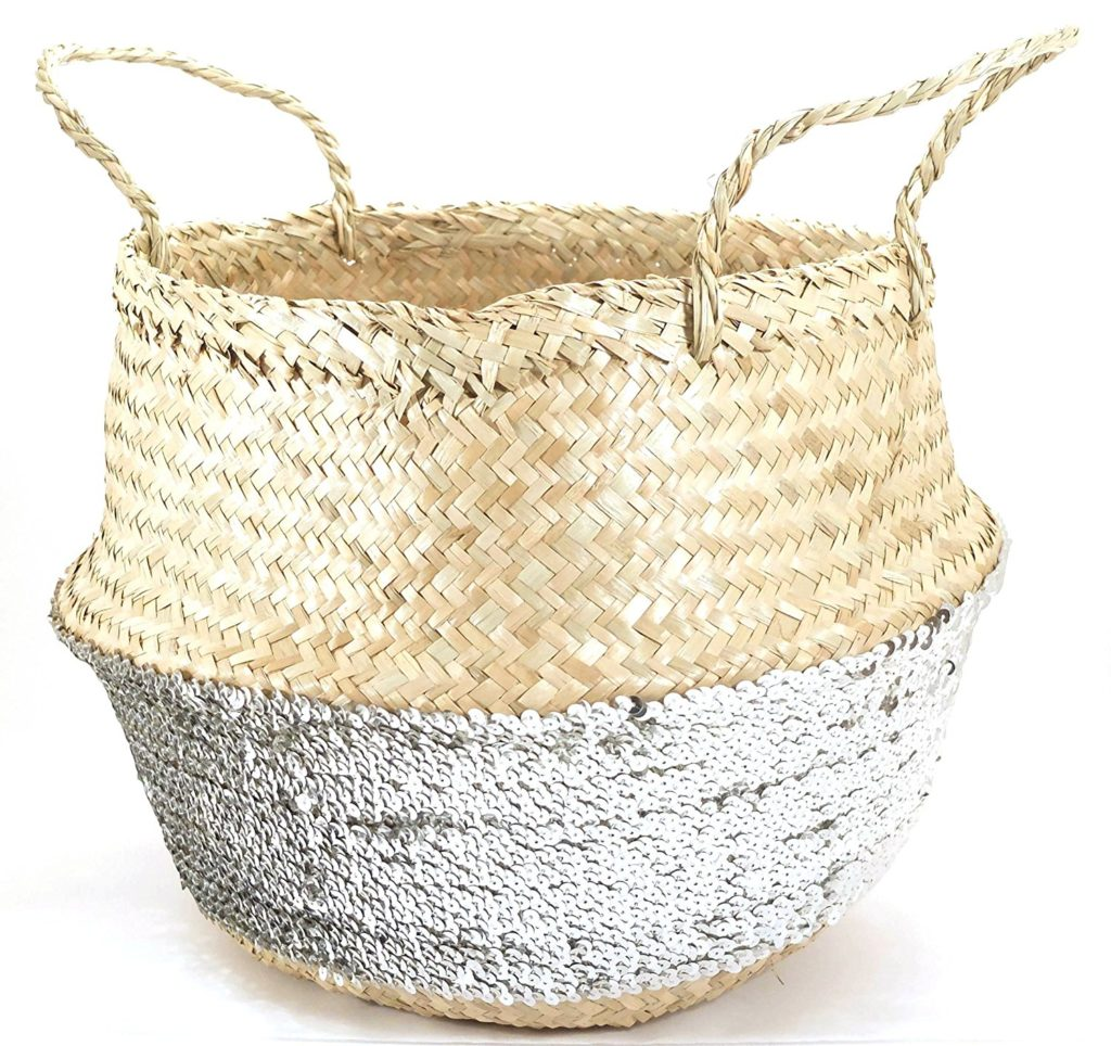 Sequin Seagrass basket easter
