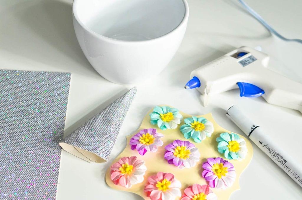 Materials for DIY Unicorn Planter Craft