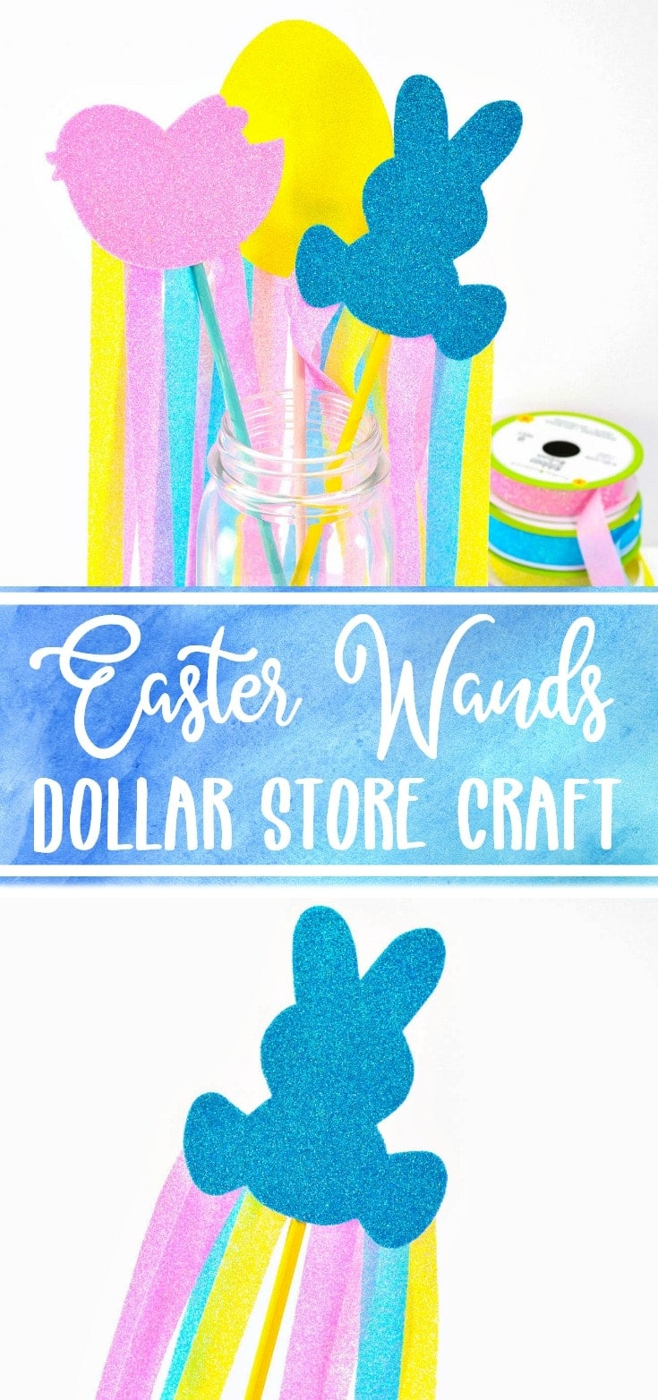easter wands for Easter party dollar store craft