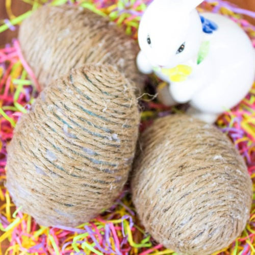 Diy twine easter eggs craft