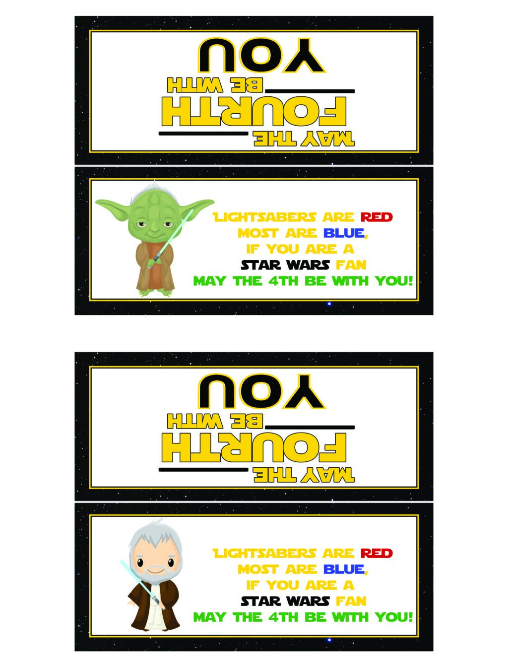 May the Fourth Be With You Printable Bag Toppers