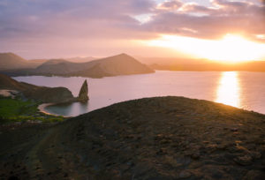 Galapagos islands sunset pinnacle rock