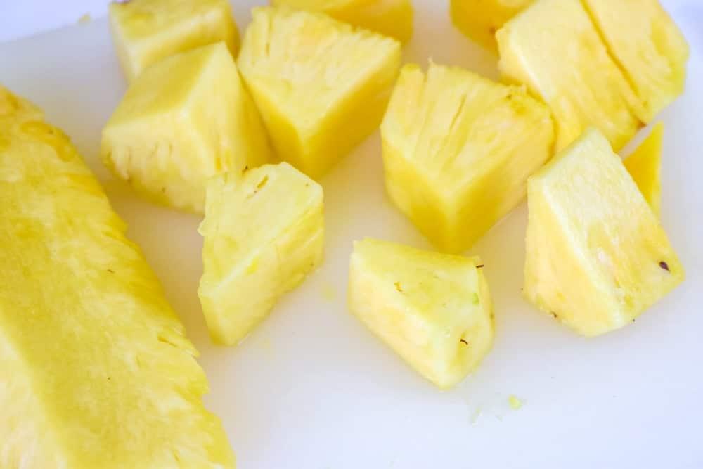 cut pineapple for pineapple sorbet