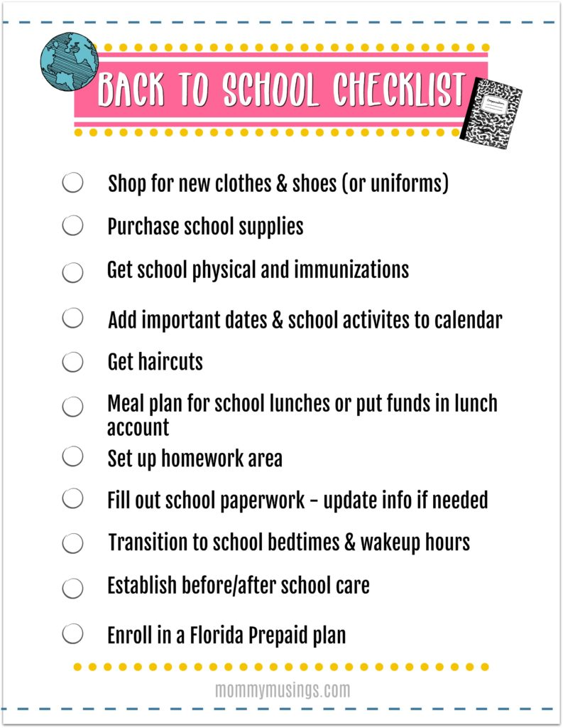 back to school checklist printable