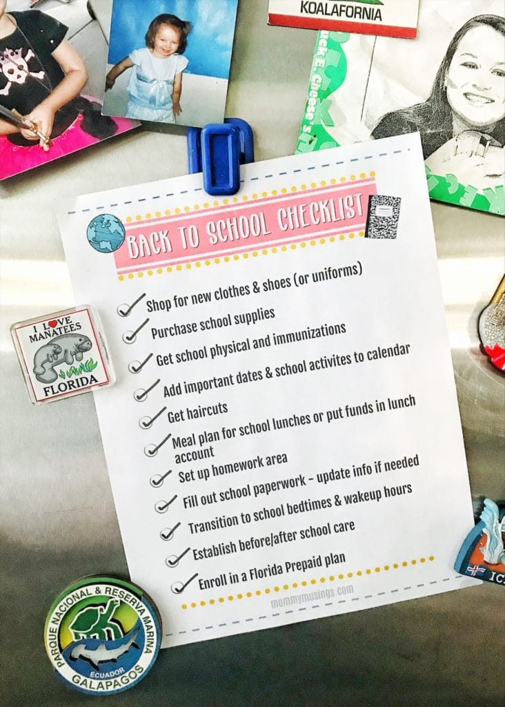 printable back to school checklist