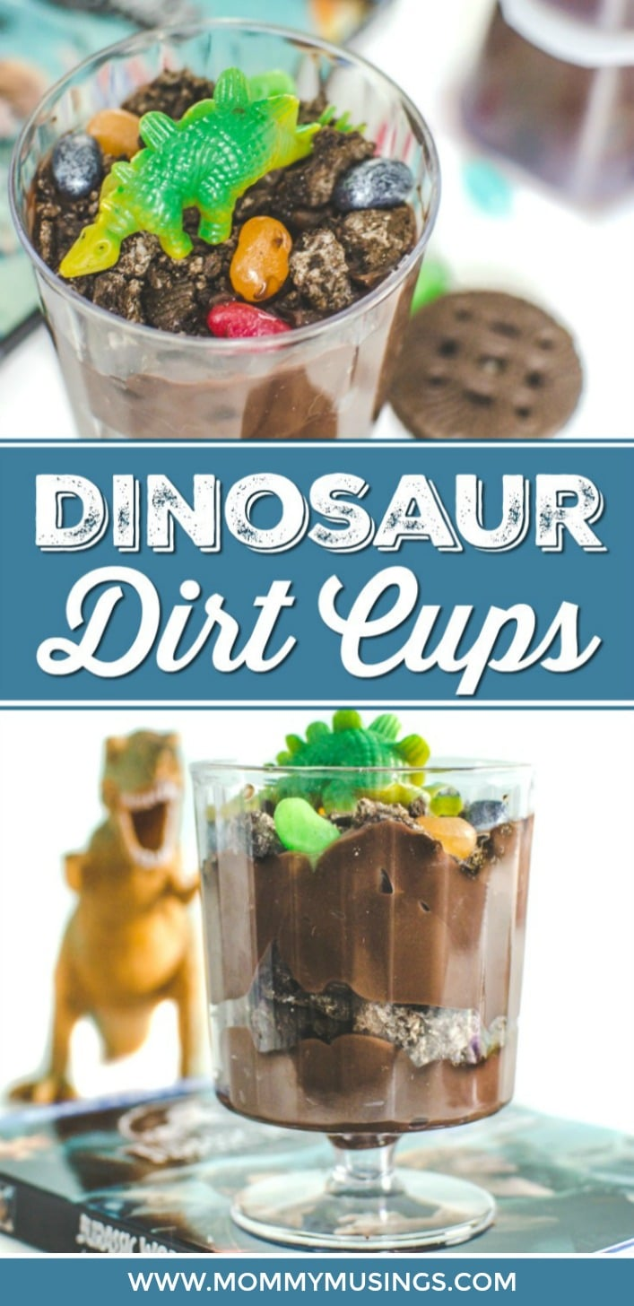 Dino Dirt Cups - An easy Dino Dirt Dessert for Kids