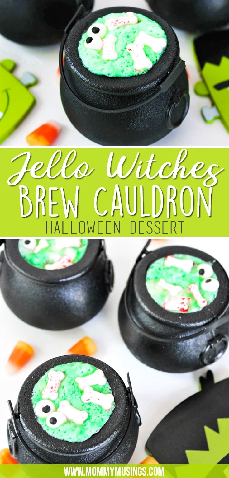 Jello Witches Brew Cauldron Dessert Recipe for Halloween