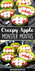 Creepy Apple Monster Mouths Peanut Butter and Apple Treats for Halloween