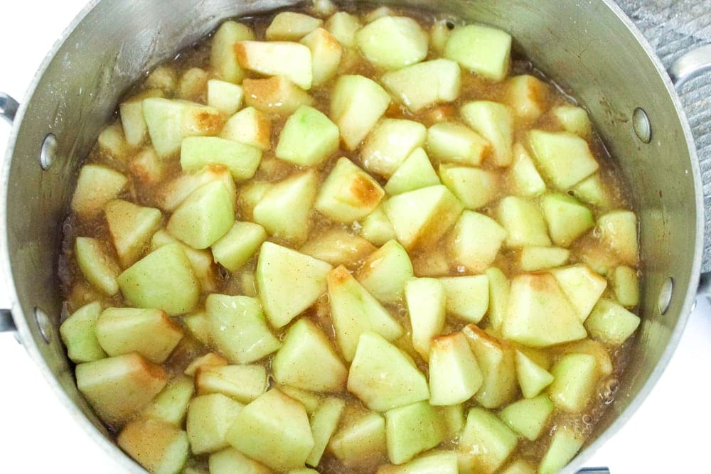 cooked apples for apple pie roll ups