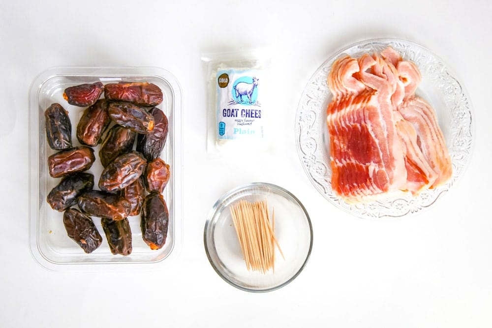 Bacon Wrapped Dates with Goat Cheese Ingredients