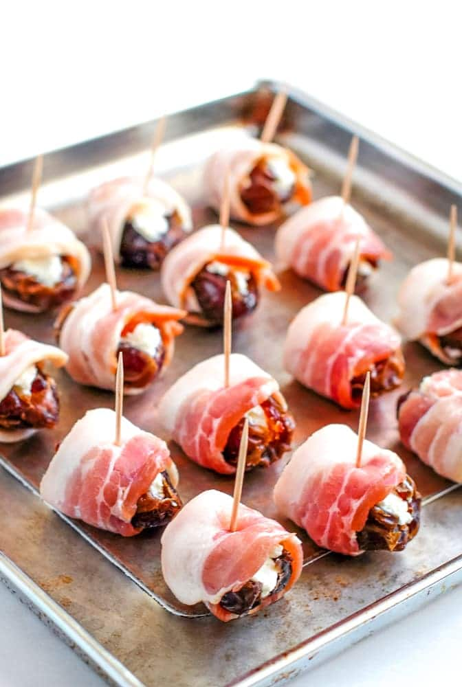 bacon wrapped dates stuffed with goat cheese