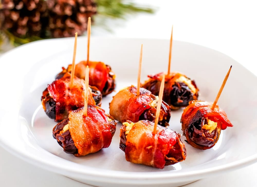 goat cheese stuffed bacon wrapped dates