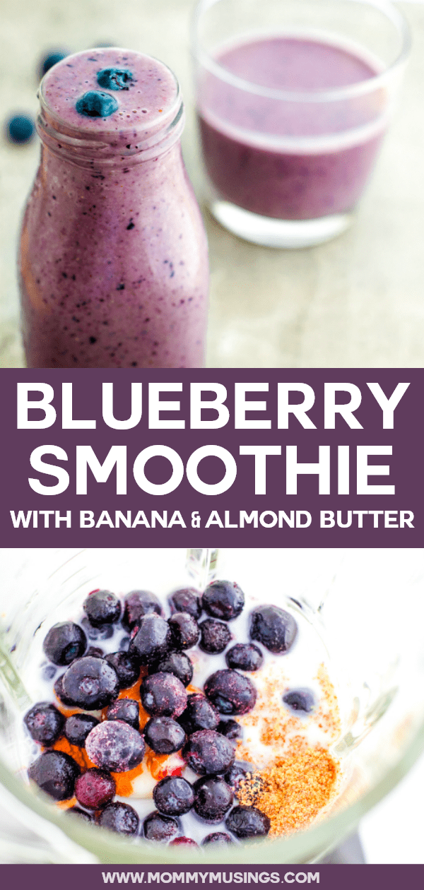 blueberry smoothie with banana and almond butter