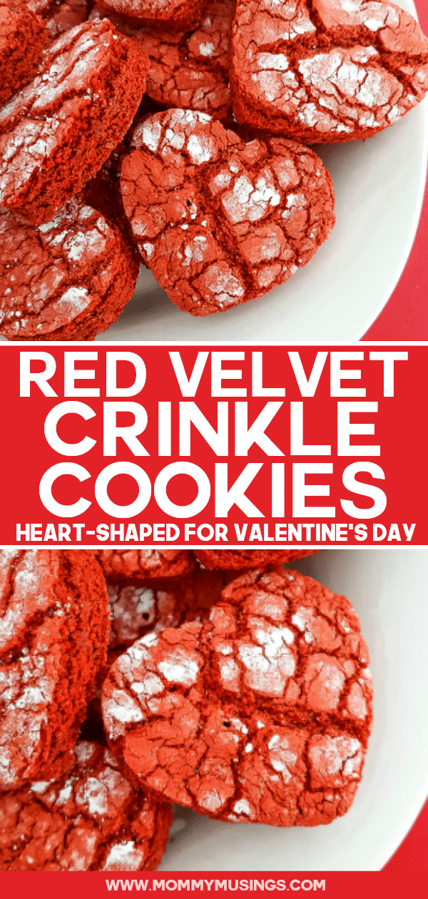 Heart-Shaped Red Velvet Crinkle Cookies