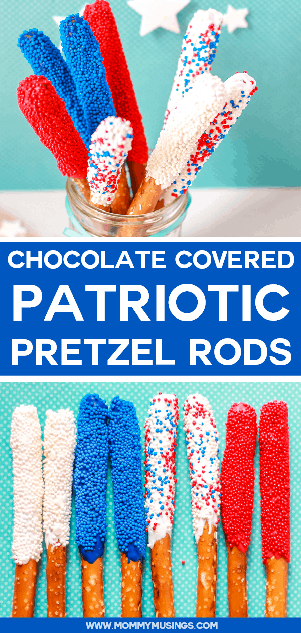 Patriotic Chocolate Covered Pretzel Rods