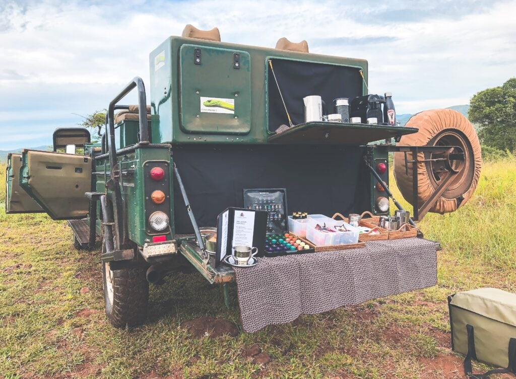 christian Sperka's green mamba safari vehicle nespresso bar