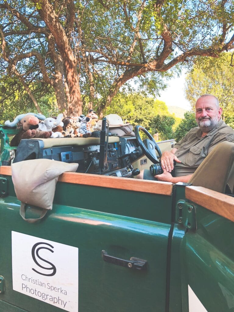 christian Sperka in his green mamba safari vehicle at Thanda private game reserve