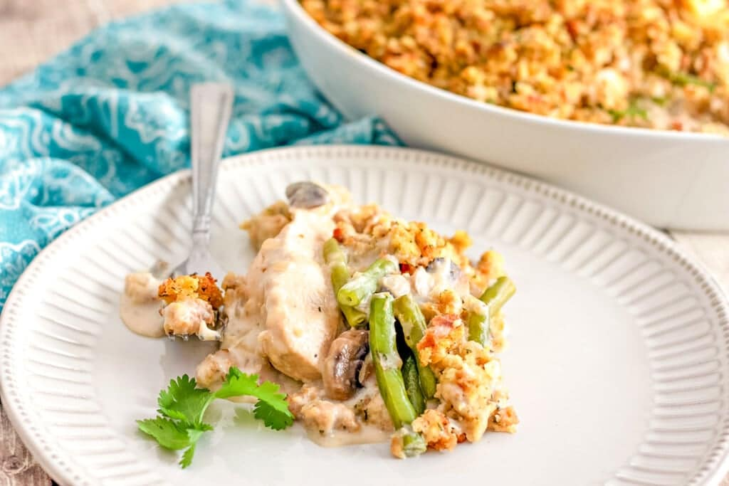 chicken mushroom and green bean casserole with stuffing