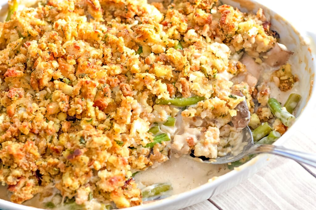 stuffing on top of chicken green bean casserole