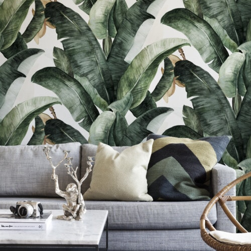 wall mural of jungle plants in living room