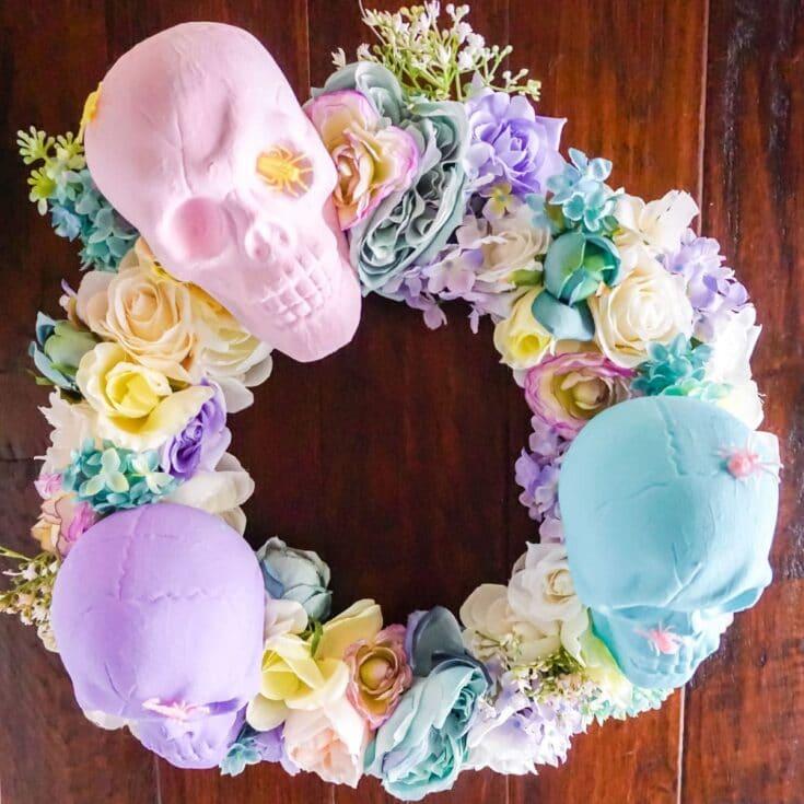 Pastel Skull Wreath for Halloween