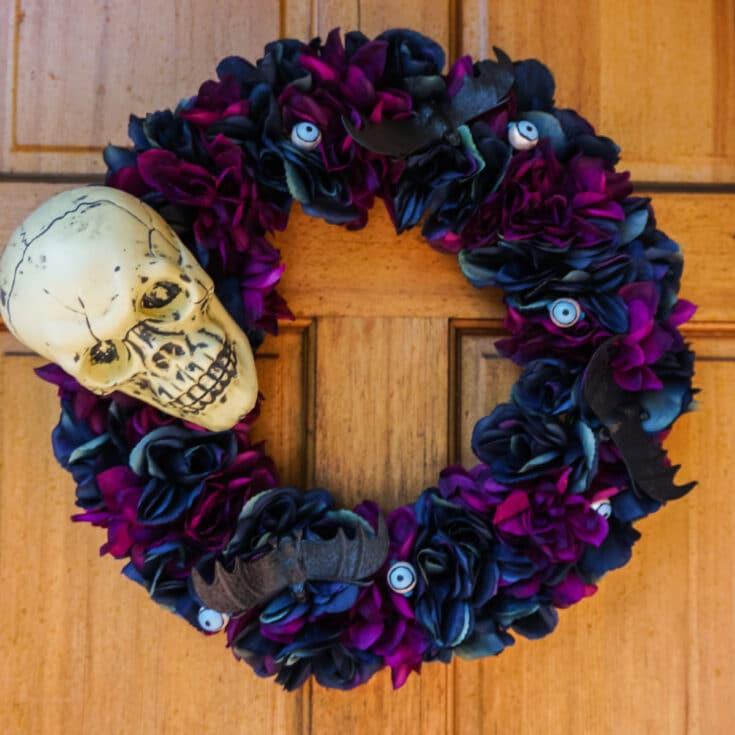 Floral Skull Halloween Wreath