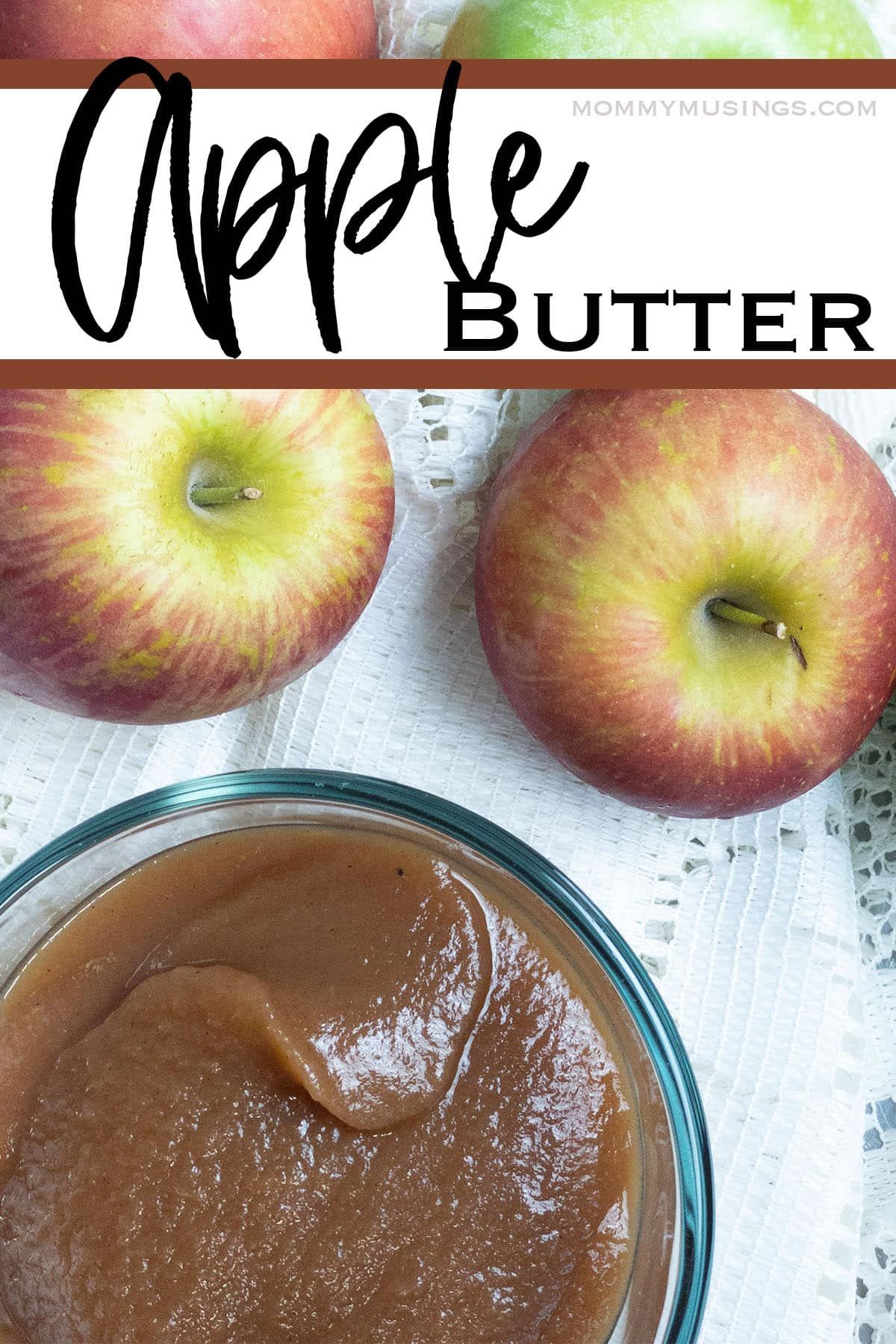 apple butter recipe in a bowl with some apples with text which reads apple butter