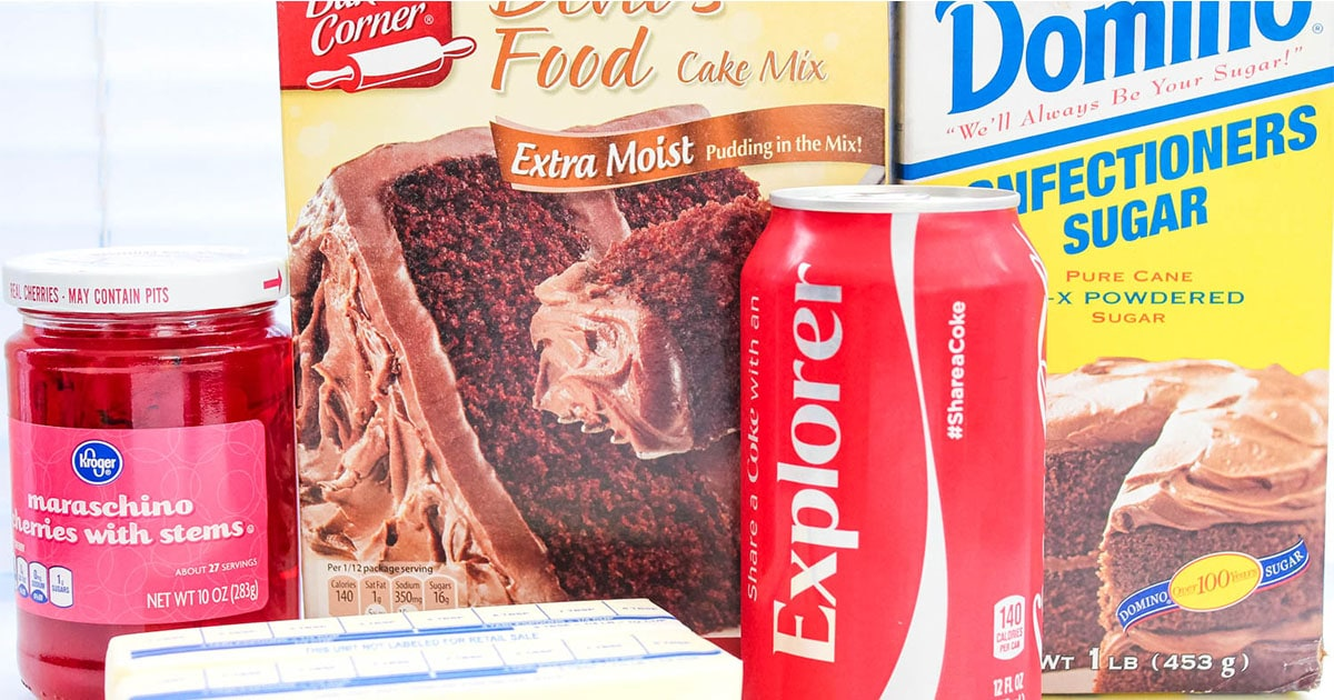 ingredients to make cherry coke cupcakes
