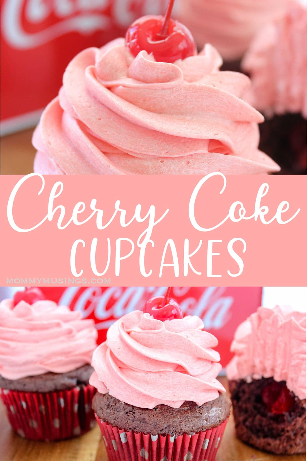 photo collage of cherry coke cupcake