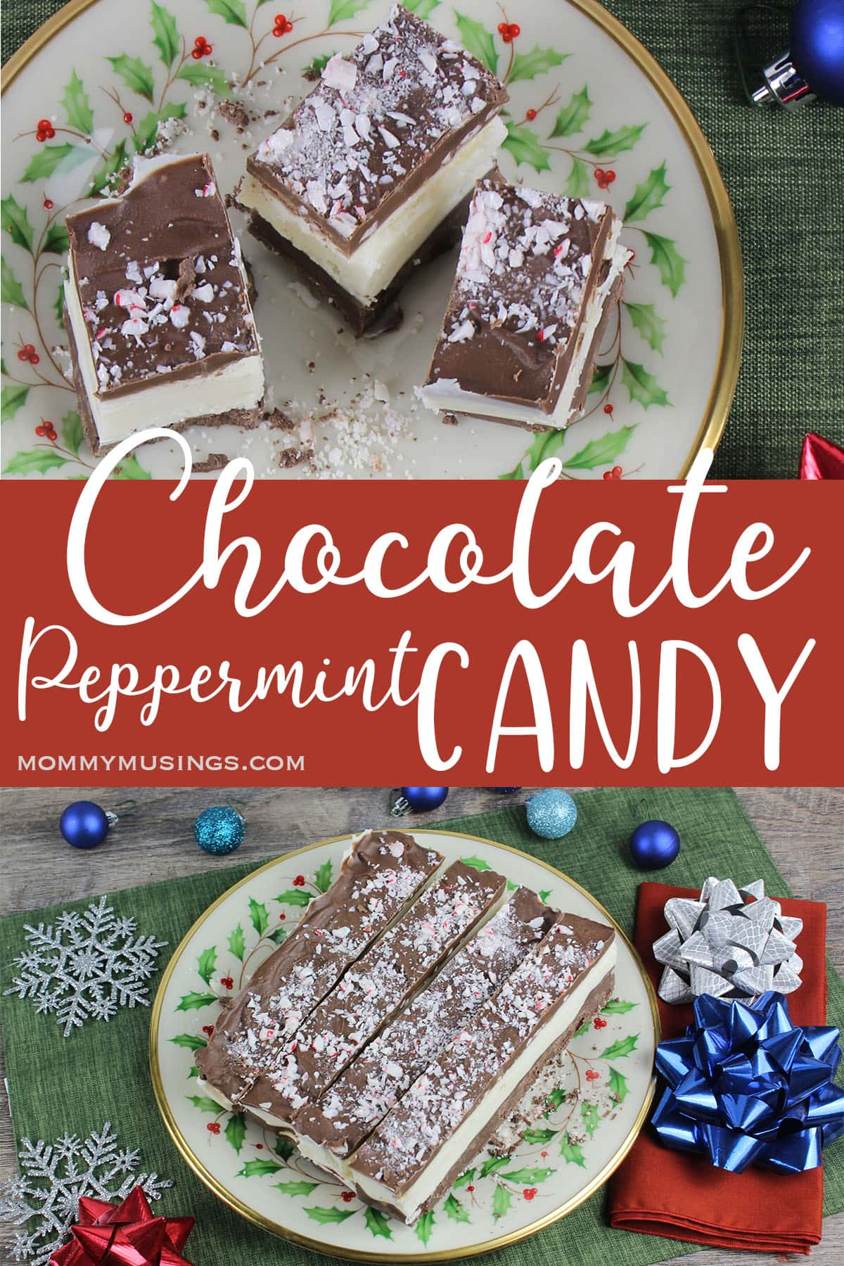 photo collage of chocolate peppermint candy recipe