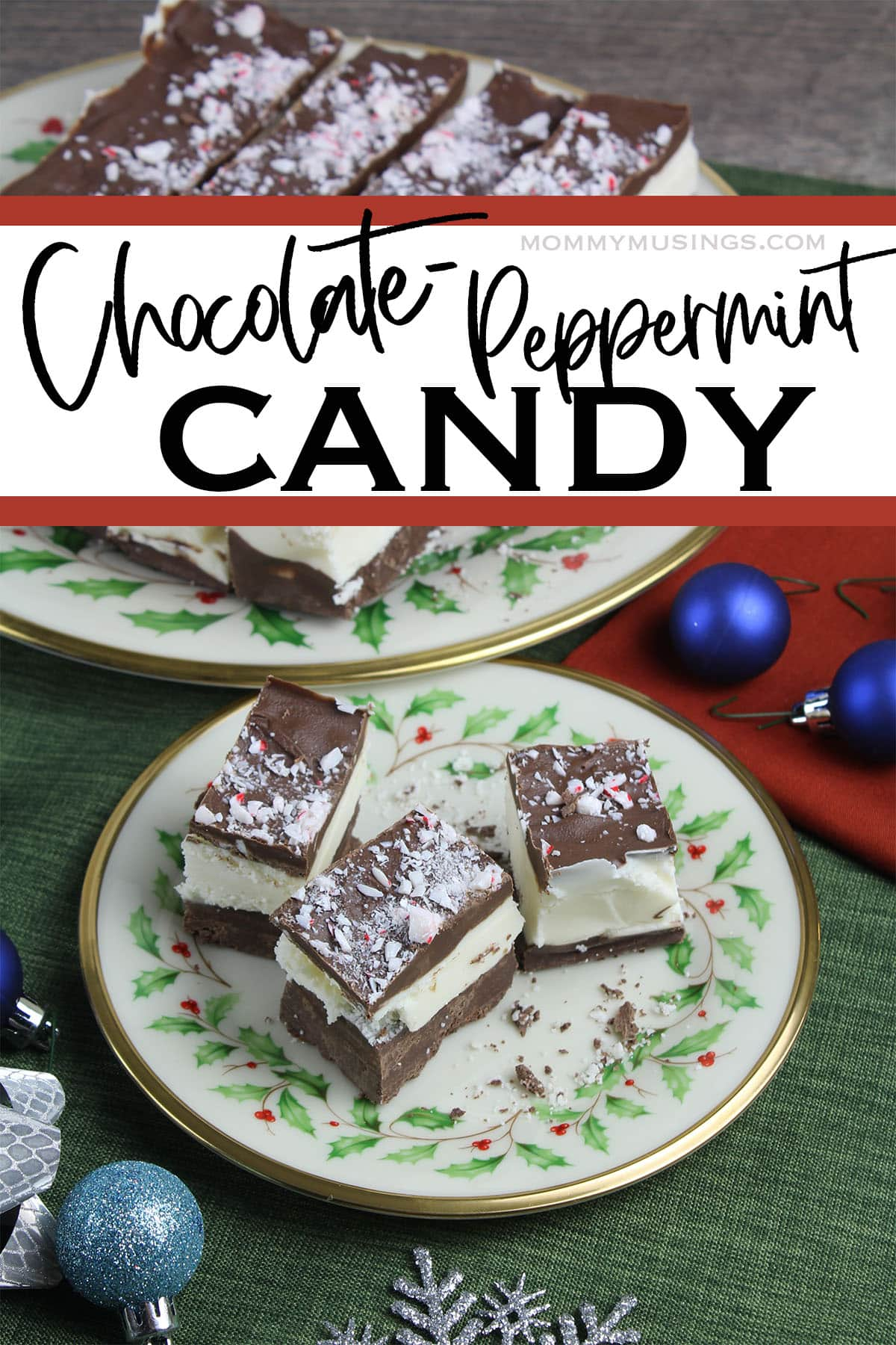 plate of chocolate peppermint candy