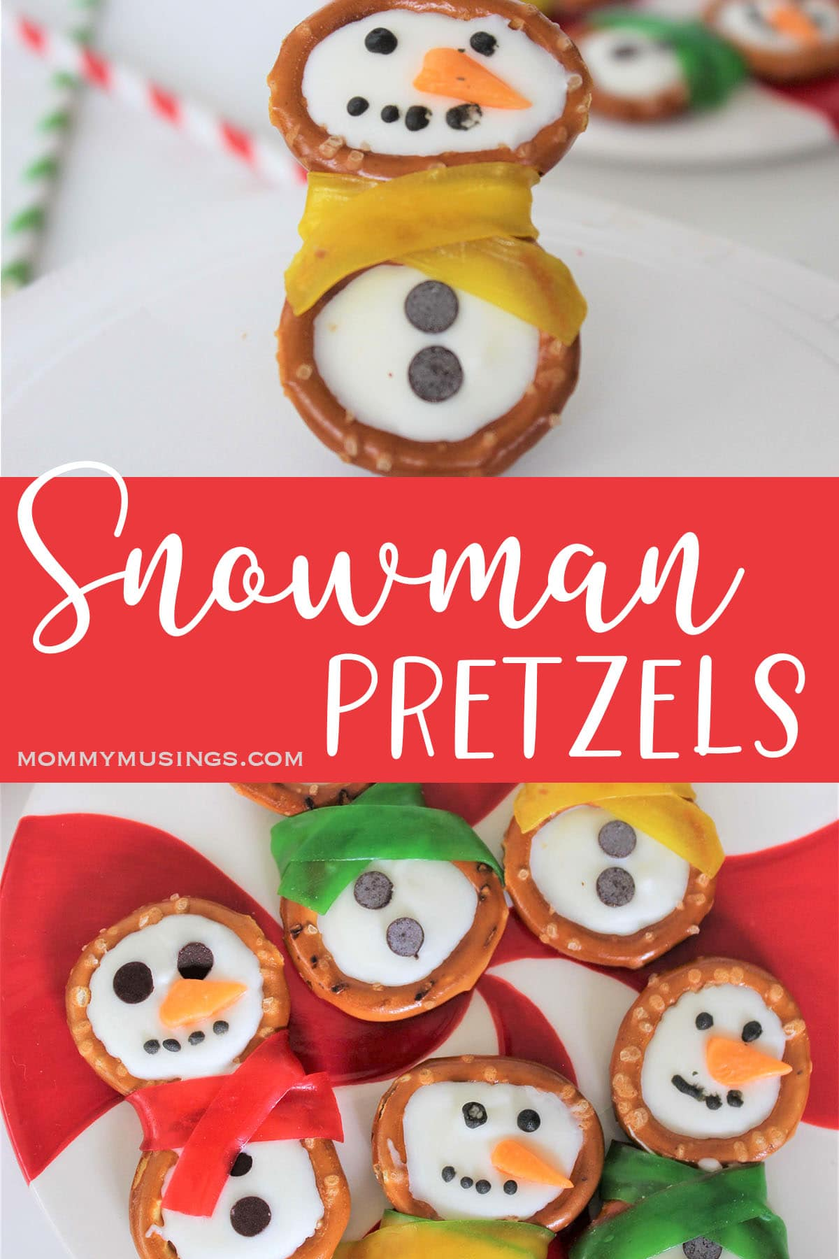 easy snowman pretzels christmas snack with text which reads snowman pretzels
