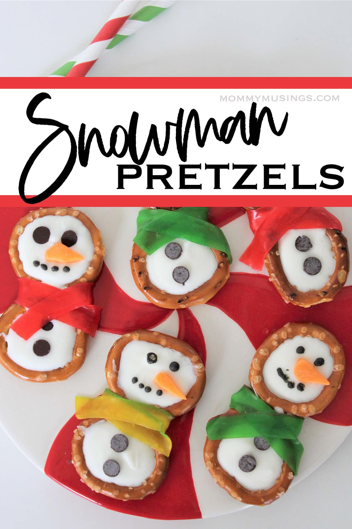 several pretzel snowman snacks with text which reads snowman pretzels