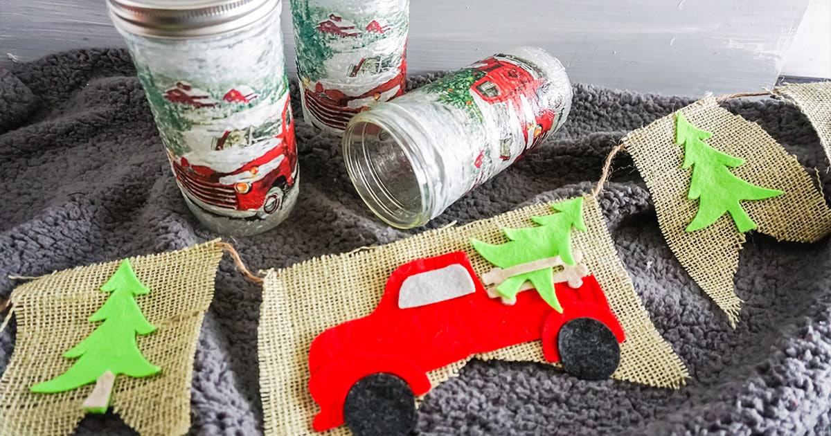 easy christmas farm truck garland cricut cut file set