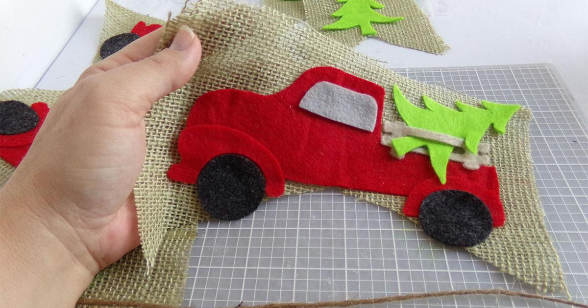 in-process step of christmas farm truck garland cricut file