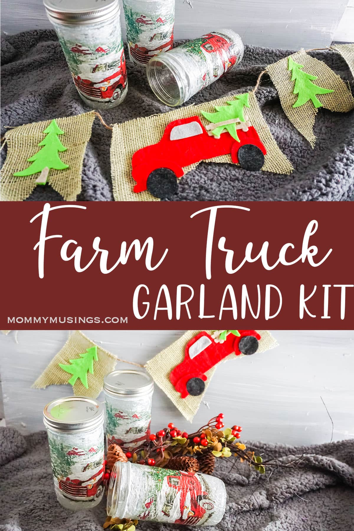 photo collage of farm truck garland in a jar with text which reads farm truck garland kit