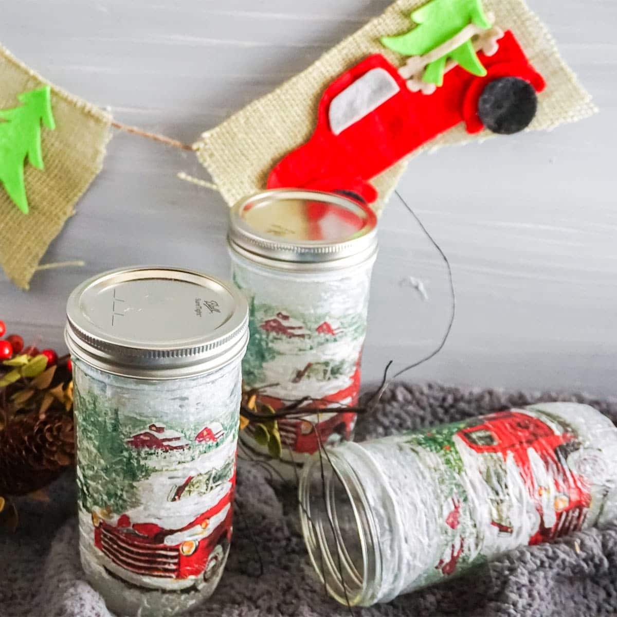mason jar gift kit with a christmas farm truck garland cricut craft