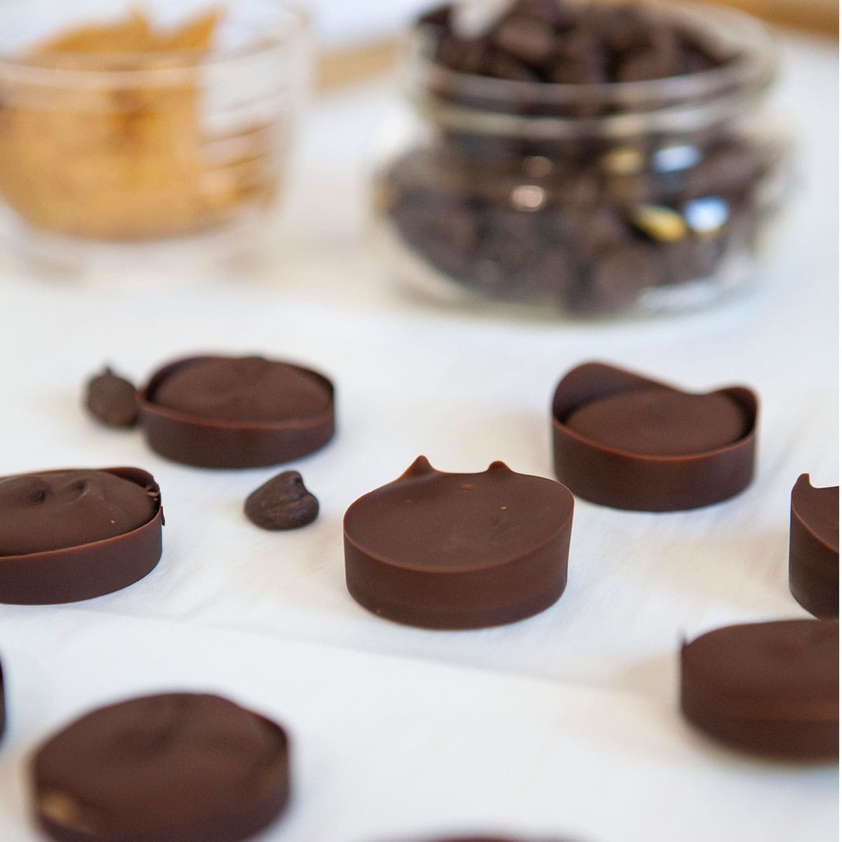 closeup of easy homemade peanut butter cups
