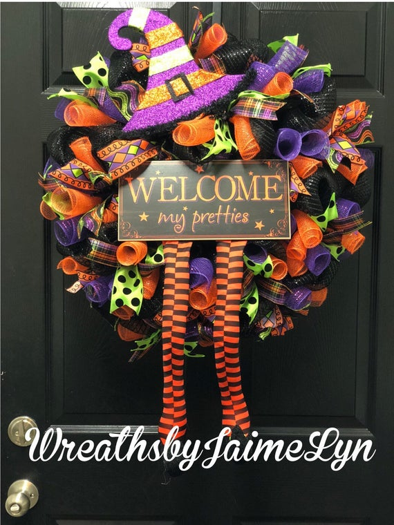 Halloween Wreath Witch wreath Halloween decor Fall Wreath | Etsy