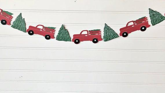 Christmas truck banner Christmas paper decor Christmas | Etsy