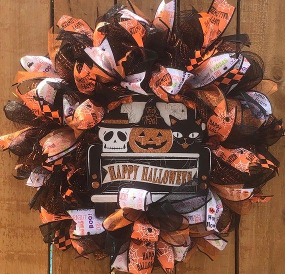 Happy Halloween black truck wreath Pumpkin Wreath best | Etsy