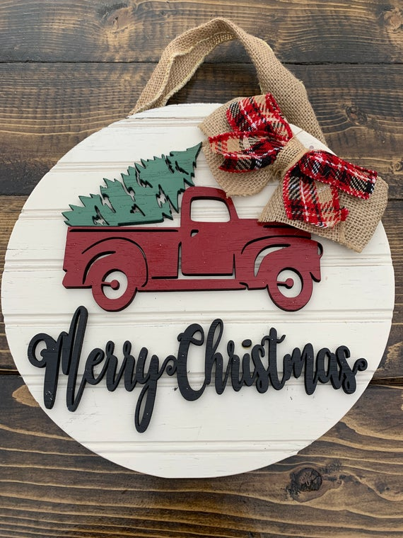 Merry Christmas Sign Red Truck Wreath Sign Red Truck Decor