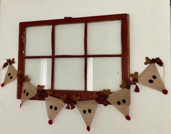 Reindeer Banner Christmas Decoration Burlap Banner Mantel   Etsy